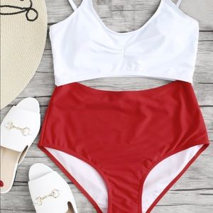 Red and white one piece bathing suit